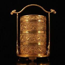 Collection Qing Dynasty Palace Queen Hand Carved Gilt Food Box Wx576