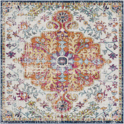 Square Traditional Oriental Medallion Area Rug Free Shipping