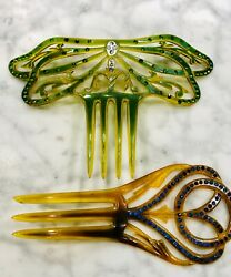 ANTIQUE CELLULOID RHINESTONE HAIR COMB DRAGONFLY circa 1910 Lot of 2 $29.95