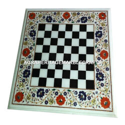 Marble Chess Coffee Corner Table Top Multi Floral Precious Inlay Art Decor H4397