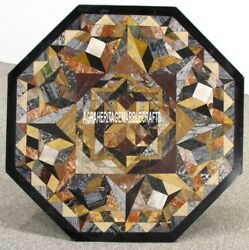 Marble Coffee Table Top Collectible Mosaic Inlay Patio Cyber Monday Decor H3947