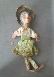 Vintage Mexican Folk Art Marionette, Wood And Clay Girl
