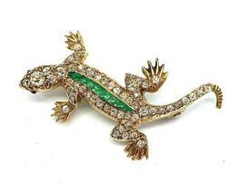 Antique Vintage Lizard Shape Brooch With Diamonds Emeralds And Rubies 18k Gold