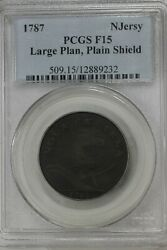 1787 Ngc F15 New Jersey Large Plan, Plain Shield  1700 Colonial Coins