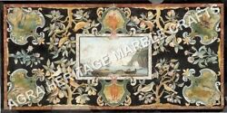 5and039x3and039 Black Marble Dining Table Top Pietra Dura Inlay Living Room Decor H5227