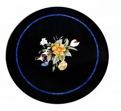 36 Black Marble Coffee Table Top Handmade Floral Pietra Dura Home Decor Gifts