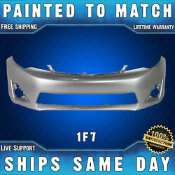New Painted 1f7 Silver Front Bumper Cover Fascia For 2012-2014 Toyota Camry