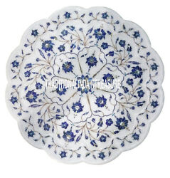 15 White Marble Serving Plate Lapis Lazuli Inlay Marquetry Kitchen Decor