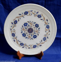 10 Decorative White Marble Plate Lapis Lazuli Gems Inlay Marquetry Gift Decor