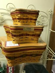 Longaberger Star Baskets And Wrought Iron Stand Combos - Set Of 3 - All New