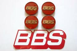 4 Real Bbs Red With Gold 3d Logo 56mm Center Caps 56.24.012 Subaru And Mitsubishi