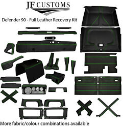 Green Stitch Leather Covers For Defender 90 83-06 Full Interior Upholstery Kit