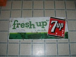 Vintage Fresh Up With 7 Up Metal Sign