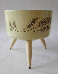 Vintage Mid Century Plant Holder Yellow With Wheat Design