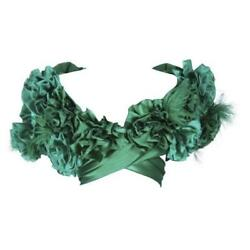 Elizabeth Mason Couture Silk Green Rose Wrap With Feathers