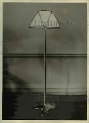1931 Press Photo Lamp Of Brass Propeller And Shaft And Paper Parchment Shade