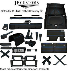 Blue Stitch Leather Covers For Defender 90 83-06 Full Interior Upholstery Kit