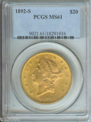 1892-s 20 Liberty Double Eagle Pcgs Ms61 Ms-61 Scarce And Beautiful