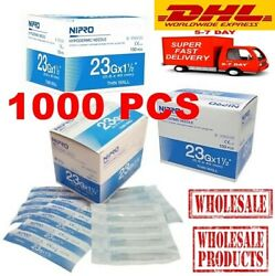 X1000 Pcs Nipro Hypodermic 23g X 1 1/2 0.6 X 25mm. Stainless Steel Wholesale