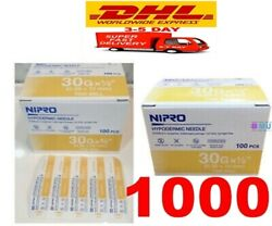 X1000 30g 1/2 Nipro Hypodermic Thin Wall Sterile 0.3 X 13 Mm Science Lab