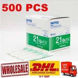 X500 Pcs Hypodermic Needle Sterile 21g X 1.5 0.8 X40mm Stainless Steel Dhl