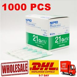X1000 Pcs Hypodermic Sterile 21g X 1.5 0.8 X40mm Stainless Steel Wholeseal