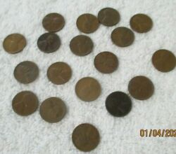 Lot Of 18 Wheat Pennies Penny 1940's 1950's No Mint Mark