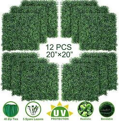 Topnew 12pcs Artificial Boxwood Topiary Hedge Plant Uv Protection Indoor Outdoor