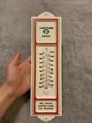 Vintage Felco Cooperative Land O Lakes Seed Feed Metal Thermometer Fertilizer