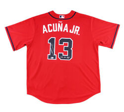Ronald Acuna Jr Signed Atlanta Braves Nike Red Mlb Jersey With 2018 Nl Roy