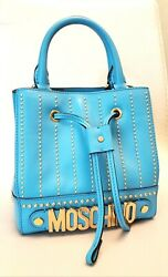 MOSCHINO BAG STUD LEATHER GOLD PLATE METAL SHOULDER CROSSBODY BLUE ITALY NEW $265.00