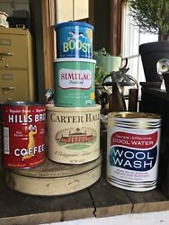 Vtg Tins Htf Boost For Dogs Similac Hills Bros Carter Hall And Wool Wash