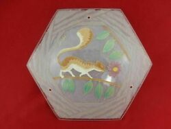 French Art Deco Enamelled Art Glass Ceiling Pendant Squirrel Signed Loys Lucha