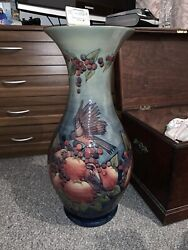 Massive Moorcroft Finches Vase By Sally Tuffindate June 1990 Height 69cm
