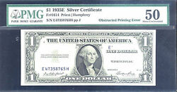 1935e1 Silver Certificate-obstructed-pmg50-rare