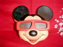 Mickey Mouse Face On Vintage Red Plastic 3-d View-master With Zoo Animals Reel