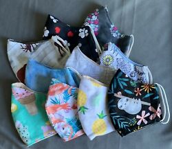 10 Masks For $25 Assorted Cute Cotton Flannel 2 Layers ***Free Shipping $25.00