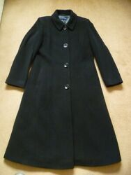Windsmoor Ladies Long Black Winter Coat Size 10 Wool Mix Buttoned Rrpandpound200 Tailor