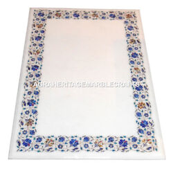 White Marble Dining Table Top Real Lapis Lazuli Marquetry Inlay Gift Decor H2475