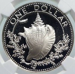 1976 Bahamas With Conch Shell Vintage Old Proof Silver Dollar Coin Ngc I85972