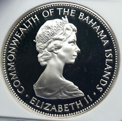 1973 Bahamas Elizabeth Ii Pirate Defeat Motto Proof Silver 5 Coin Ngc I85983