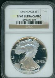 1995-p American Silver Eagle Ase S1 Ngc Pf69 Pr69 Proof Ultra Cameo Ucam