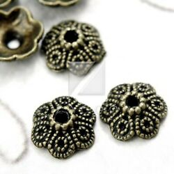 100pcs Antique Brass End Beads Caps Jewelry Findings Flower 11.5mm Free Shipping