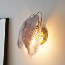 Creative Tiered Feather Wall Sconce Modern Wall Light Fixture For Girls Room