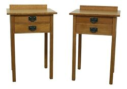 49924ec Pair Stickley Mission Oak Arts And Crafts 2 Drawer Nightstands