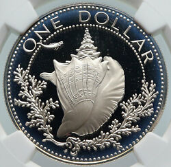 1974 Bahamas With Conch Shell Vintage Old Proof Silver Dollar Coin Ngc I85989