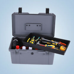 Waterproof Plastic Tool Box With Tray Portable Hardware Organizer Case For Home