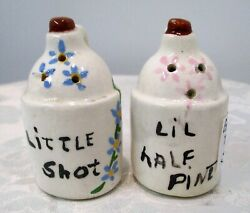 Vintage Salt And Pepper Set Tiny Pottery Whiskey Jugs Sold As Is