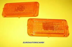 Fiat 124 Cc Sports Coupe Left And Right Front Blinker Lenses Amber New Original