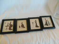 Set Of Four 4 3/4 X 5 1/2 Victorian Silhouettes Pictures Wall Plaques